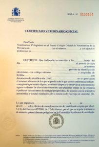 certificado de salud para perros potencialmente peligrosos