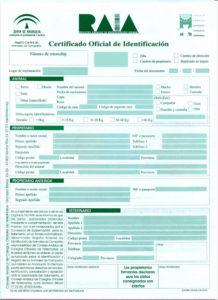 Certificado identificación animal